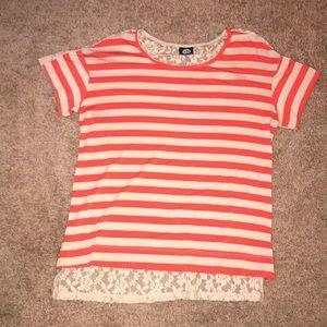 Orange/Beige & Lace Back Striped Top, size M